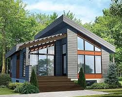 Plan PM  Contemporary Vacation Getaway   Modern House Plans    Modern House Plan PM gives you one bed and just over square feet of living