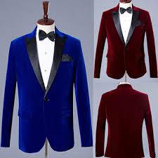 Men's Velvet Prom <b>Blazer</b> Wedding Groom <b>Tuxedos</b> Wine <b>Red</b>/<b>Blue</b> ...