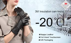 <b>Leather Gloves</b> for <b>Women</b>, with 3M Thinsulate Full-Hand ...