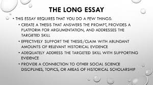 the lonnnnnnnnnng essay there are different essay types the 3 the long essay