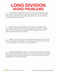 Long Division Word Problems | Worksheet | Education.comFourth Grade Division Worksheets: Long Division Word Problems