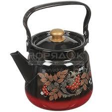 <b>Чайник эмалированный Сибирские товары</b> декор красно-чёрный ...