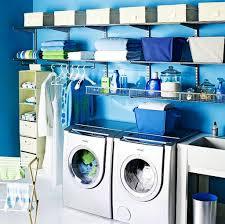 blue laundry room design idea bright modern laundry room