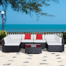 Sol 72 Outdoor™ Merton <b>7 Piece</b> Sectional Seating Group with ...