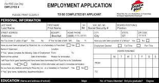 pizza hut job application printable job employment forms job description remuneration