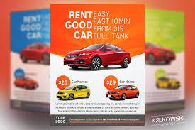 car rental flyer template flyer templates on creative market