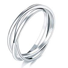 BORUO 925 Sterling Silver Ring Triple Interlocked ... - Amazon.com
