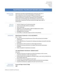 maintenance technician resume objective examples sample customer maintenance technician resume objective examples general maintenance technician objectives resume maintenance technician resume samplestemplates and tips