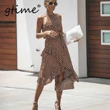 Gtime <b>Dropshipping</b> Summer Dress Women <b>New Fashion</b> Halter ...