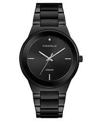 <b>Caravelle</b> Men's Diamond-Accent Black Stainless Steel Bracelet ...