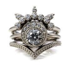 <b>Moon</b> Priestess Grey and White <b>Diamond Moon</b> Engagement Ring Set