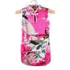Baby <b>Girls</b>' Cute Floral Peacock <b>Cheongsam Dress Sleeveless</b> ...