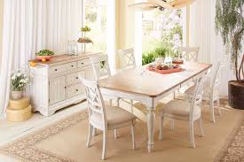 Distressed White Kitchen Table Cottage Farmhouse Distressed White Natural Solid Farmhouse Dining