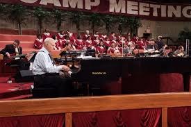 the rev jimmy swaggart s sonlife broadcasting network has jimmy swaggart at the piano during a recent sunday service photography by don kadair