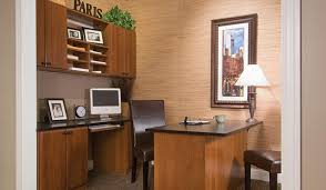 home office with custom desk credenza and upper wall unit storage system chicago home office