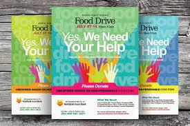 food drive flyer templates flyer templates on creative market