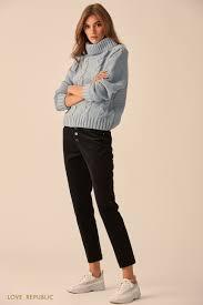 <b>Узкие брюки из хлопковой</b> ткани чёрного цвета 9451083728-50 ...