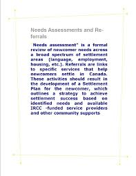 needs assessments and referrals pathways to needs assessments and referrals