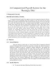 Thesis about Computerized Payroll System for Barangay Hall  Dita
