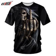 UJWI Summer Men 3d Cool Print <b>Grim Reaper Finger</b> contempt ...