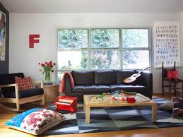 funny accessory decor in small living room with big sofa near glass window big furniture small living room