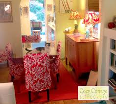 dining table parson chairs interior: interesting parsons chairs with sweet red shabby chic slipcovers and glass dining table on elegant red
