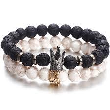New Fashion Beaded <b>Women Men Bracelets</b> Simple Classic Round ...