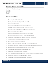 warehouse manager job description wordtemplates net job description warehouse manager