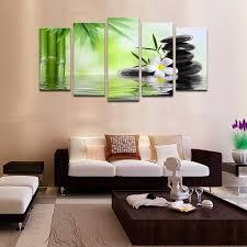 Online Shop <b>5 piece canvas</b> art picture Green bamboo zen painting ...
