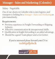 s and marketing manager colombo job vacancy in sri lanka effective communication interpersonal skills diams qualification in freight forwarding is an added advantage diams should be a good team player