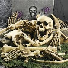 12/28Pcs Bag of Bones Human <b>Skull</b> Skeleton <b>Halloween</b> Scary ...