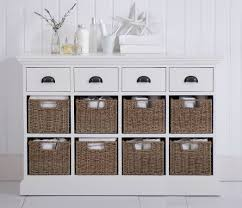 white storage unit wicker: wicker white hand painted   basket storage unit
