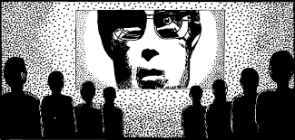 amusing ourselves to death   stuart mcmillen comics blogdrawing of big brother from apple macintosh advertisement  crowd watching face on screen
