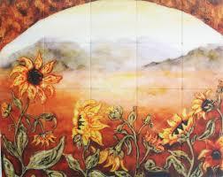 Kitchen Tile Backsplash Murals Kitchen Wall Murals Vh Butterfly And Blue Flower Wall Murals