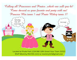 princess and pirates party invitations mickey mouse invitations princess and pirate party invitations template
