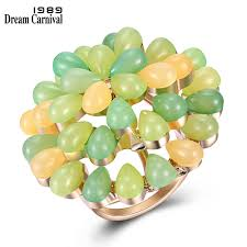 <b>DreamCarnival 1989 New Arrived</b> Green Tone Small Rings for ...