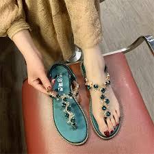 2019 New Summer Sandals <b>Women Flat</b> Slip On Solid <b>Bling Crystal</b> ...