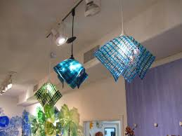 fused glass light fixture chandelier waffle basket art glass shades of blue art glass lighting fixtures