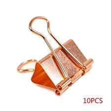 Idyandyans <b>10pcs Rose Gold</b> Paper Binder Clip <b>Fashion</b> Metal