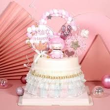<b>Cakesmile pink</b> girl theme cake topper cupcake party for baking ...