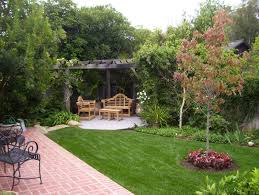 unique backyard landscape ideas decorated with concrete pathway gorgeous brick patio flooring completed outdoor furniture design architecture architecture awesome modern outdoor patio design idea