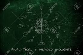 analytical plus inspired thoughts artificial intelligence and stock photo analytical plus inspired thoughts artificial intelligence and human brain surrounded by data processing and ideas arrows pointing out