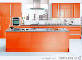 modular kitchen colors: tangerine finish  neopolitan flame tangerine finish