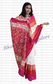 gorgeous handwoven ikkat silk saree in off white rich gorgeous handwoven ikkat silk saree in off white rich contrast patola pallu blouse and