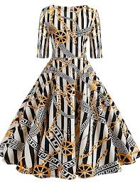 <b>Women's</b> Vintage <b>A Line</b> Dress - Striped <b>Patchwork Print</b> White L XL ...