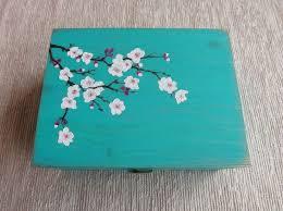 Wood Tea <b>box</b> with Cherry Blossom <b>handpainted</b> custom wooden ...