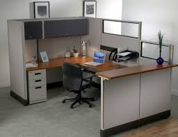 contemporary space small office desk design idea brown wooden varnish finished fine surface table top gray black shag rug home office