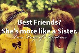 Two women, a blonde in a yellow tee with a bow and a brunette in a lime green tee, with the text Best Friends? She's more like a Sister. Two Rays of Sunshine