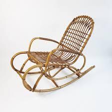 1970s Italian rattan and <b>bamboo rocking chair</b> – Barlume Vintage