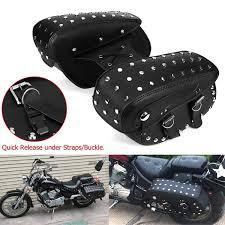 Pair <b>Universal Black PU Leather</b> Waterproof Motorcycle Saddlebag ...